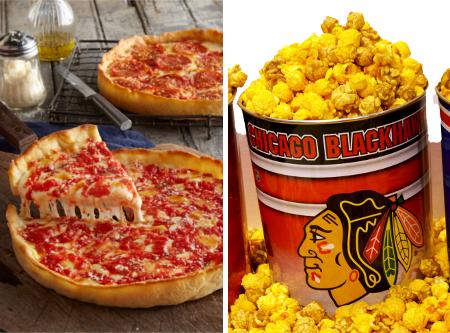 1 Blackhawks Gallon Nuts on Clark Popcorn & 2 Lou's Pizzas