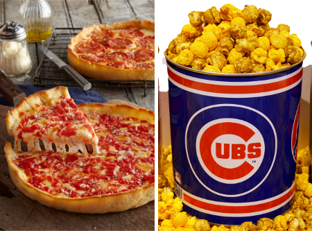 1 Cubs Gallon Nuts on Clark Popcorn & 2 Lou's Pizzas