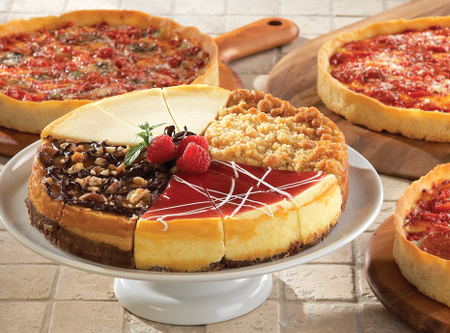 1 Eli's Sampler Cheesecake & 3 Lou's Pizzas