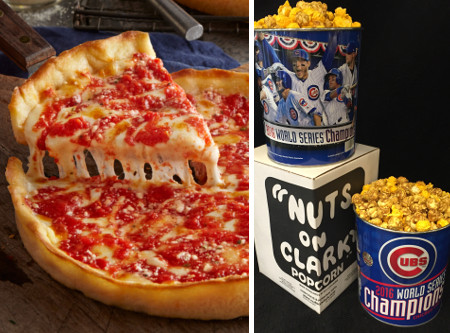 1 2016 Cubs World Series Gallon Nuts on Clark Popcorn & 2 Lou's Pizzas