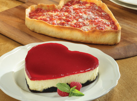 Eli's Heart Shaped Cheesecake and Pizza